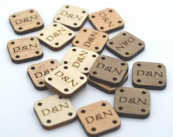 Mini Product Tags - 50 tags customized with your text - 0.6 x0.6 Inch - laser cut and engraved