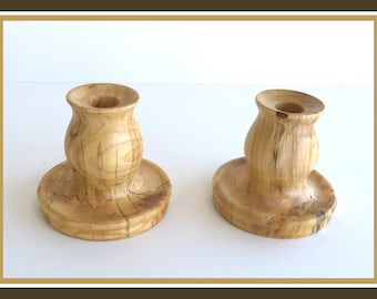 Vintage Pair of Candle Holders, Hand Turned, Spalted Hackberry Wood, Hells Canyon