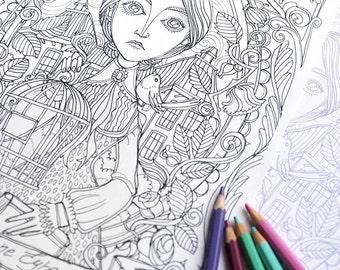 Coloring page PDF -Jane Eyre - Charlotte Bronte - Instant download - Art Printable illustration