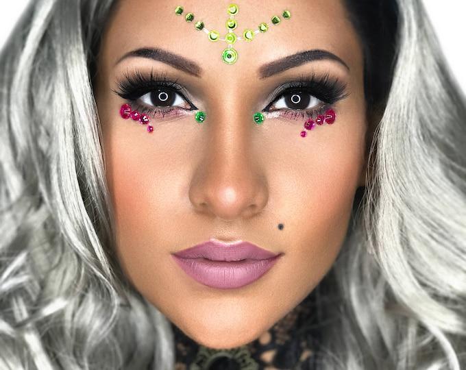 Mangueira - Eye Sticker Body Art Crystals, Eye Rhinestones Face Jewel, Festival Gems Costume Accessory, Stick on Crystal Forehead Jewelry