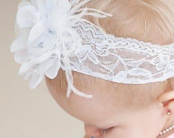 White Satin Flower Headband on White Lace, White Lace Baby Headband, Flower Girl Headband, Vintage Headband, White Headband, Wedding