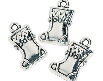 Christmas Stocking Charms, 11mm x 17mm, pack of 12