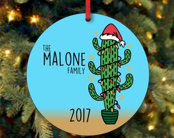 Family Christmas Ornament, Personalized Christmas Ornament, Cactus Ornament, Custom Ornament, Keepsake Ornament, 2017 Ornament  (0008)