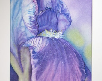 Purple Iris original watercolor - with mount and mat