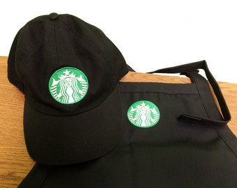 Halloween costume Black New Logo Starbucks barista apron and hat set,both adjust one size fit all