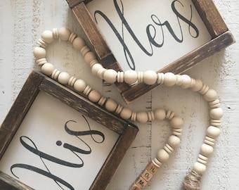 his and hers sign, mini sign set, farmhouse sign, bedroom decor, bathroom decor, framed wood sign, farmhouse decor