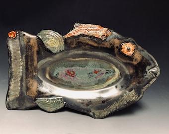 Textured ceramic Fish tray/plate