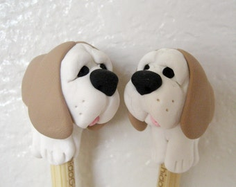 Basset Hound Dog bamboo single point knitting needles any size FR3E US SHIPPING or any dog breed sculpture choose size puppy lover tool