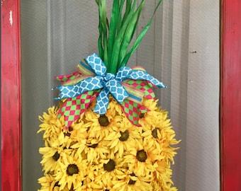 Sunflower Pineapple door wreath