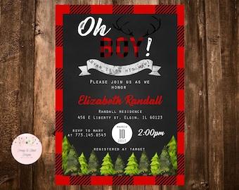 Lumberjack Baby Shower Invitation, Buffalo Plaid, Rustic Invitation, Boy Baby Shower, First Birthday, Woodland Invite