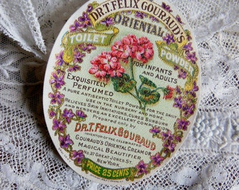 Original Vintage Perfumed Powder Toiletry Label with Violets & Geraniums