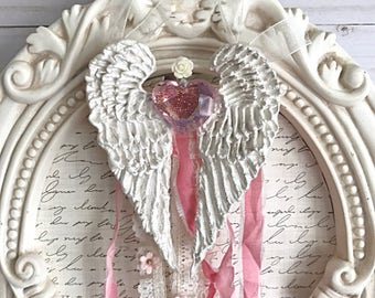 Rosey Heart Hand Sculpted Angel Wings with beautiful heart snd cream rose eith ribbons Precious Wings by Pam