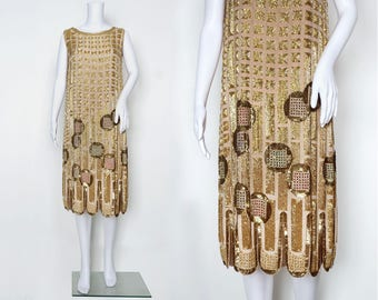1920s Art Deco Beaded Dress with Sequins and Colourful Rhinestones
