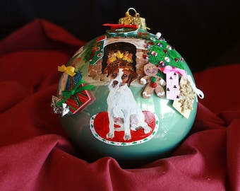 HAND PAINTED ORNAMENT - Jack Russell - w/3d - Item 179