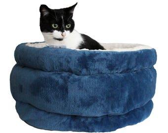 Cat bed, cat furniture, designer cat bed, small dog bed CLOUD  blue, cat basket, pet basket, round cat bed,snuggle cat cave, pet bed