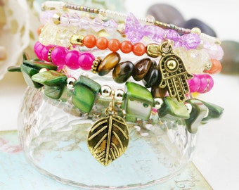 Aladdin 5 tiers bangle (MW revised version) - tiger eye, and dyed jade
