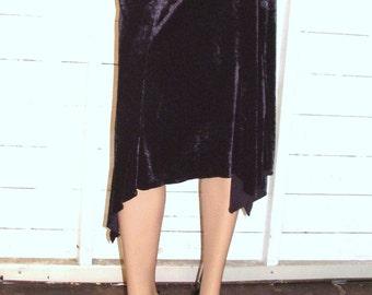 Vintage Black Velvet Asymmetrical Skirt S