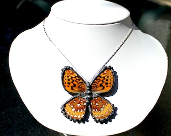 Real Butterfly Necklace, Silver Boardered Fritillary Butterfly Necklace, Butterfly Wing Necklace