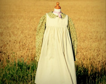 Pioneer Dress with Pinafore and Bonnet Sizes 2-8