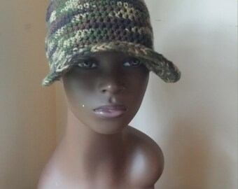 Crochet Handmade Army Fatigue Hat/Cap