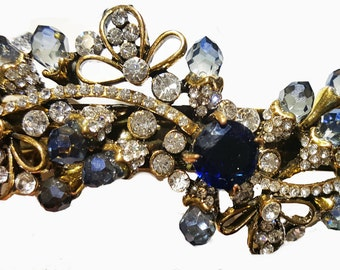 New Antique Gold With Sapphire Crystals & Rhinestones 3 1/2'  Hair Barrette