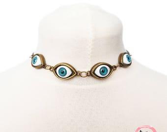 Antique Bronze Evil Eye Choker Necklace, Evil Eye Necklace, Eyeball Necklace, Blue Evil Eye Necklace, Bronze Evil Eye Necklace