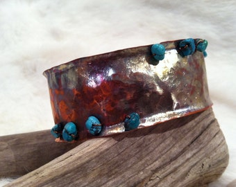 Hand Hammered Copper Cuff Bracelet with Arizona Turquoise Beads