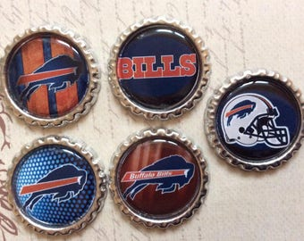 SET of 5 - Buffalo Bills Bottle Caps For Pendants, Hairbows Hair Bow Centers - Ready to use