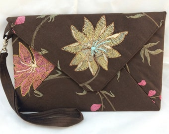 Envelope Clutch with Wrist Strap, Brown Silk with Floral Embroidery and a Gold Silk Lining