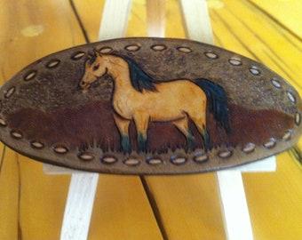 Leather buckskin horse hair clip