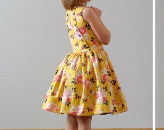 Child Dress PDF Sewing Pattern, The Latona Dress Sized 18mo to 12y
