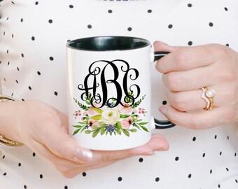 Custom Monogram Mug - Monogram Gift - Monogrammed Gift - Custom Coffee Mug - Monogram Cups - Monogram Mugs - Name Initial Mug - Gift for Her