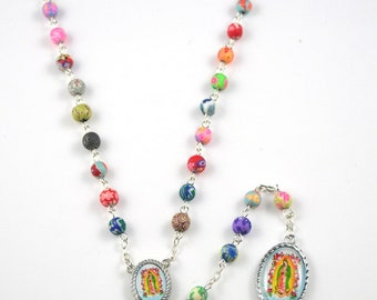 New Beautiful Colorful Rosary,Virgen de Guadalupe, fashion rosary, pray, catholic.