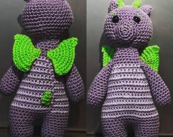 Green purple dragon stuffy