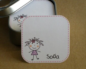 Stick figure : Mini Note Cards /Tags in Tin / Note cards for children / Kids lunch card / Kids note cards personalized - set of 60