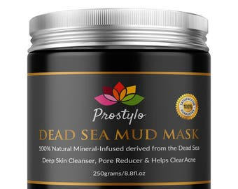 Dead Sea Mud Mask Facial Cleanser - 100% Natural and Organic that Removes Dead Skin and Impurities, Clear Acne, Reduce Pores and Wrinkles