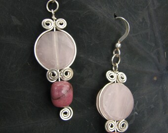 Rose Quartz, Rhodonite and Sterling Silver Wire Wrapped Earrings