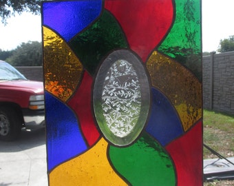 Suncatcher (panel) Traditional Stained Glass with Oval Glue Chip Bevel