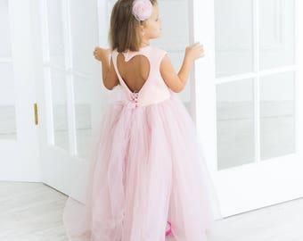 Girl dress pink tutu dress for baby girls kids toddler dress tulle floor length dress long girl dress prom dress gown for girls baby