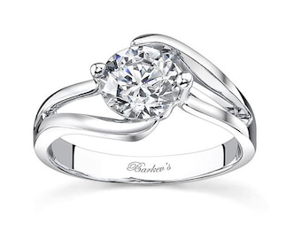 Barkevs Unique White Gold Diamond Solitaire Engagement Ring, ForeverOne Moissanite, Available with Diamond or Moissanite Center Stone, 7623L
