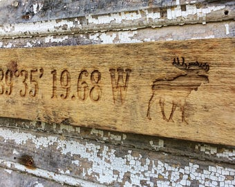 Rustic Moose Sign with Longitude and Latitude Coordinates