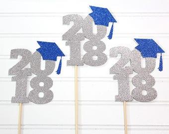 2018 Graduation Centerpiece sticks - Set of 3 - Customized to your school colors! - Graduation party, congratulations graduate