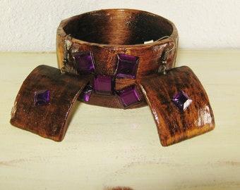 Bracelet and Earrings - Wooden Bracelet - Rustic Jewelry - Wooden Jewelry - Primitive Jewelry - Purple Rhinestones - Jewelry set - Handmade