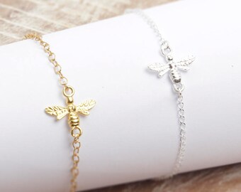Bee Bracelet/Tiny Bee Necklace/Gold Bee bracelet/Sterling silver bee bracelet