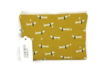 Dachshund Sausage Dog Makeup Bag, Pencil Case, notions bag