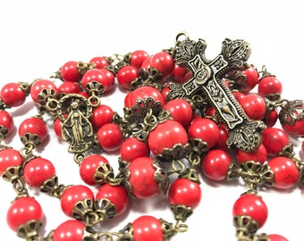 Red and Bronze Rosary Red Rosary for Men Heirloom Rosary Gemstone Rosary Red Stone Rosary Catholic Rosary Beads Rustic Rosary Natural Stone
