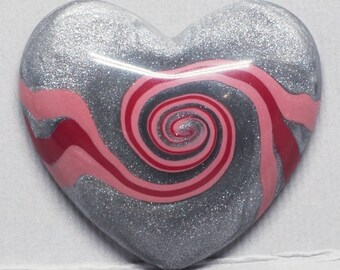 Silver and Pink Swirls Polymer Clay Heart Cabochon