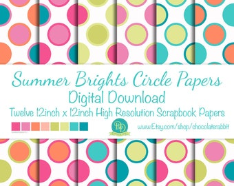 Summer Brights Digital Scrapbook Paper Pack Printable Instant Download Background Papers Collage Sheet