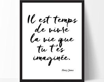 Cadre, Citation Inspirante, Typography Print, French Quotes, French Print, Inspirational Quote, Black White Print, French Home Decor