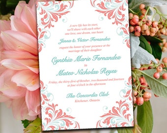 "DIY Wedding Invitation Template - Printable Invitation Download - Mint Pink Coral Invitation ""Maggie"" Shabby Chic Wedding Invitation"